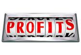 Palavra de lucros em odomoter dial faixas crescentes vendas de receitas — Foto Stock