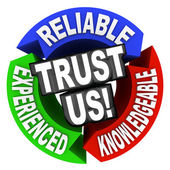 Trust Us Circle Words Reliable Experienced Knowledgeable — Stock Photo