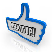 Keep It Up Blue Thumbs Up Word Encouragement Feedback — Stock Photo