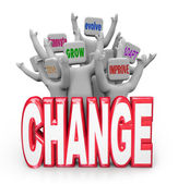 Change Team of to Innovate Evolve Improve Adapt — Stockfoto