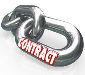 Contract Word on Chain Links Connected Bound — Stock Photo
