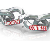 Broken Contract Chain Links Separated Ending the Agreement — Stock Photo