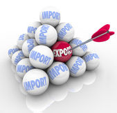 Import Export Pyramid Balls Trade Imbalance Defecit — Stock Photo