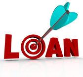 Pożyczki słowo strzałka w oczko cel finansowania kredytów hipotecznych — Zdjęcie stockowe
