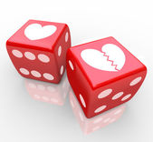 Broken Heart on Dice Risking Love Relatioship Hearts — Stock Photo