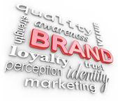 Varumärke marknadsföring ord medvetenhet lojalitet branding — Stockfoto