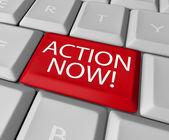 Action Now Computer Key Demanding Urgent Act — Stock Photo