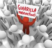 Guerrilla Marketing Man Holding Sign Advertising Tactics — Stock Photo