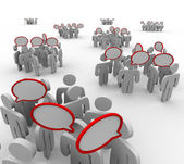 Groups Talking Speech Bubbles Audiences Conversations — Stock Photo