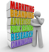 Marketing Plan Thinking Strategy Advertising Communications — Stock Photo