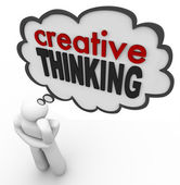 творческого мышления человек думал пузырь мозговой штурм идея — Стоковое фото