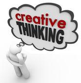 Creatief denken persoon dacht dat bubble brainstorm idee — Stockfoto