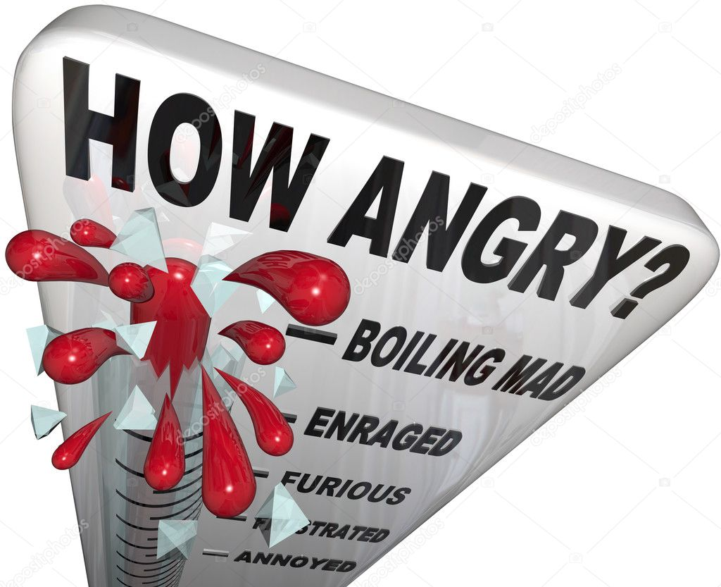 A thermometer measuring your anger level, with mercury rising past the words Annoyed, Frustrated, Furious, Enraged to Boiling Mad — Stock Photo #13004992