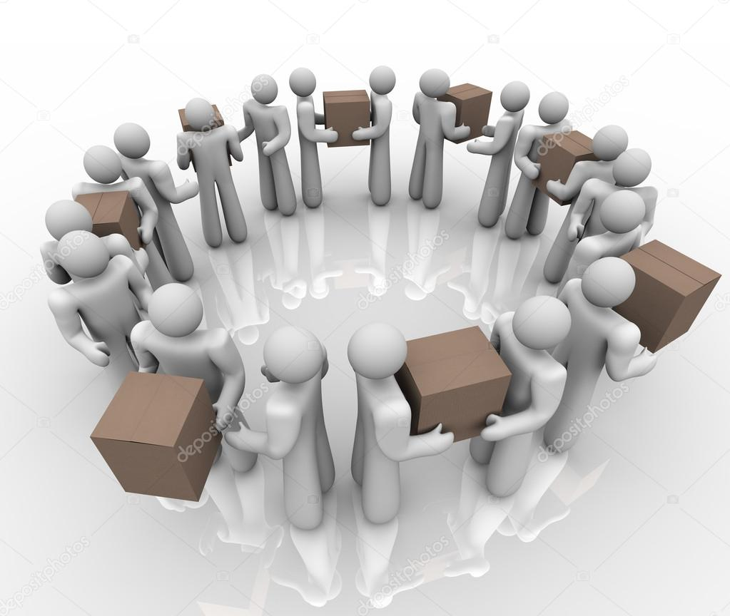 A team of working in a circle process or system to deliver boxes and packages in a shipping and receiving department — Foto Stock #13007555