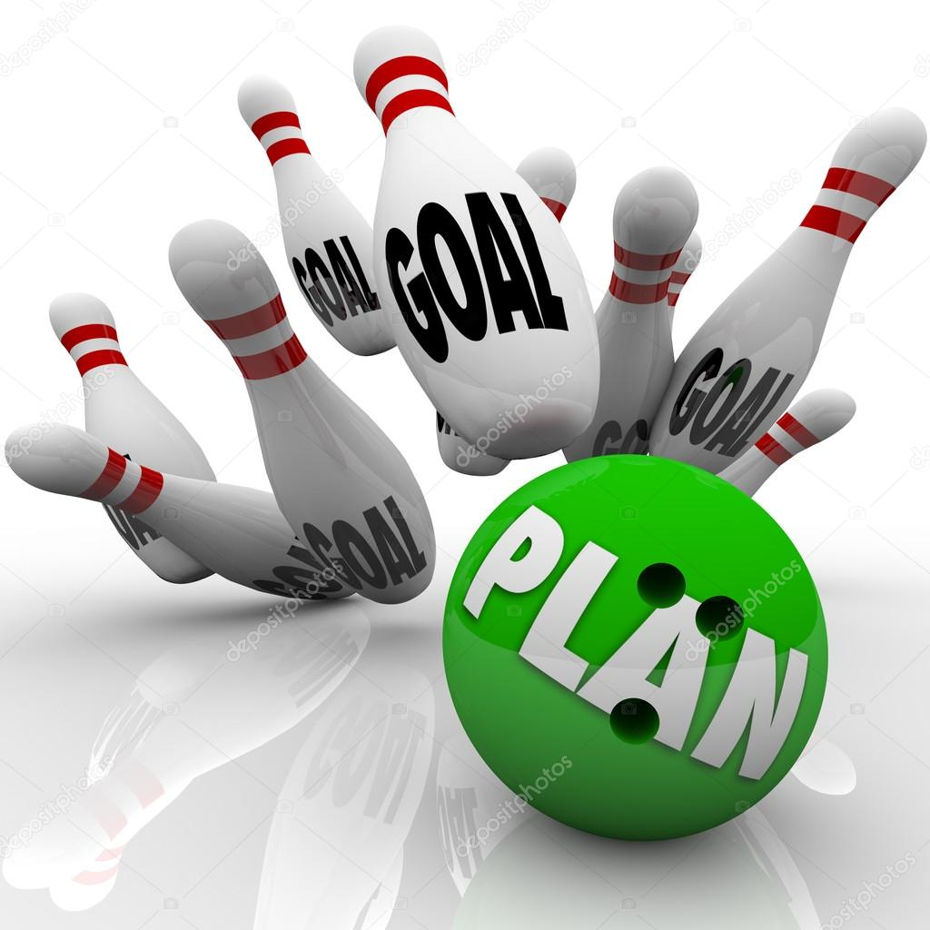 A green bowling ball with the word Plan on it hits many pins with the word goal to symbolize goals and missions being achieved and accomplished with an effective str — Foto de Stock   #13007610