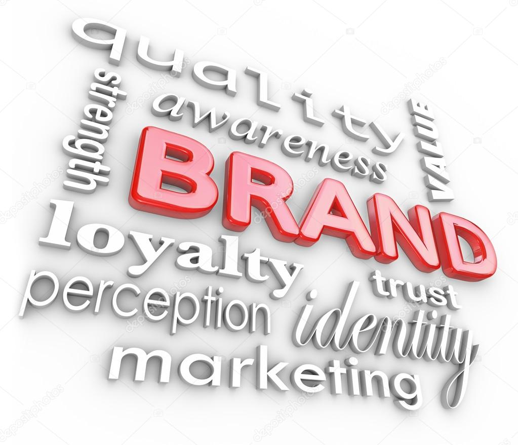 The word Brand and associated terms and phrases such as quality, loyalty, awareness, strength, perception, value, trust, identity and marketing — Stock Photo #13008618