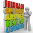 图库照片: Thinking Person Feedback Comment Review Answer Opinion