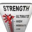 Strength Level Measured on Thermometer Ultimate Strong - Stock Photo