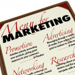 Marketing Menu Activites Advertising Promotion Research — Stock Photo