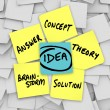 Idea Words Yellow Sticky Notes Brainstorm Solution — Stockfoto