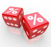 Interest Percent Sign on Dice Signs Gamble for Best Rate — Stock Photo