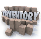 Inventory Word Stockpile Cardboard Boxes Oversupply Surplus — Stock Photo