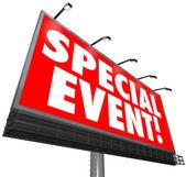 Zvláštní události billboard podepsat exkluzivní prodej reklamy, omezené — Stock fotografie