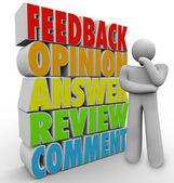 Myślenia osoby opinii komentarz przegląd odpowiedź opinii — Zdjęcie stockowe