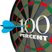 100 Percent Words Dart Board One Hundred Total Full — Stock Photo