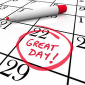 Great Day Calendar Date Circled Red Marker — Stock Photo