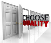 Choose Quality Many Doors Choice Decide Best Option — Stock Photo