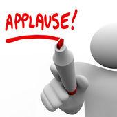 Palabra aplausos escrito por reconocimiento de marca de hombre — Foto de Stock
