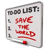 Zachránit svět slova na seznamu suché mazání desky — Stock fotografie