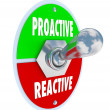 proactive vs reactive toggle switch decide take charge — Stock Photo
