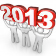 Celebrate New Years Eve Lift 2013 Year Number - Stock Photo