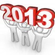 Celebrate New Years Eve Lift 2013 Year Number — Stock Photo