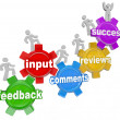 Feedback Marching Up Gears Input to Success - Stockfoto