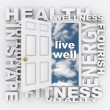 Stock Photo: Health Words Door Fitness Wellness Shape Living Healthy
