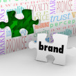 Brand Puzzle Piece Marketing Strategy Answer Completed — Stock Photo