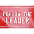 Follow the Leader Red Vanity License Plate Words — Stock Photo #14741345