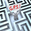 G.P.S. Global Positioning System Person Lost in Maze - Stock Photo