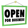 Open for Business Sign Hanging Store Window Door — Stock Photo #14741367