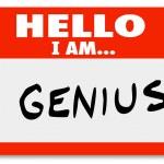 Bonjour je suis un penseur brillant expert génie-étiquette d'identification — Photo