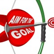Aim for the Goal Bow and Arrow Bullseye Target — Stock Photo
