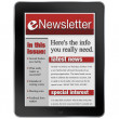 ENewsletter on Tablet Computer News Alert — Stock Photo