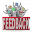 Pleased Satisfied Customers Giving Positive Feedback - Stockfoto