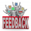 Pleased Satisfied Customers Giving Positive Feedback - 图库照片