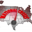 National Crisis USA Map United States America Trouble - Stock Photo