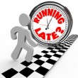 Running Late Racing Clock Time Tardiness Slow - Foto Stock