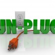 Unplug Cord Electrical Outlet Electricity Power Reduction — Stock Photo #14741601